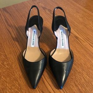 Manolo Blank Black Leather Heels